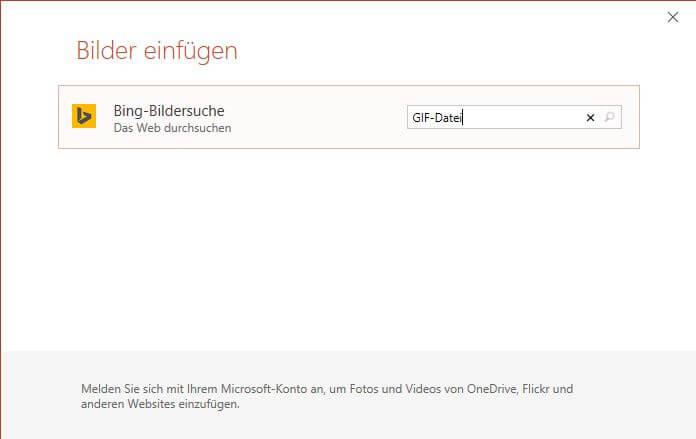 PowerPoint Bing Bildersuche
