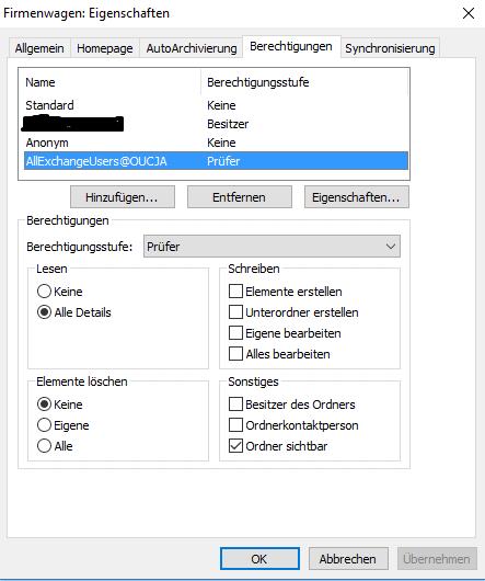 Berechtigungen für Outlook-Kalender einstellen