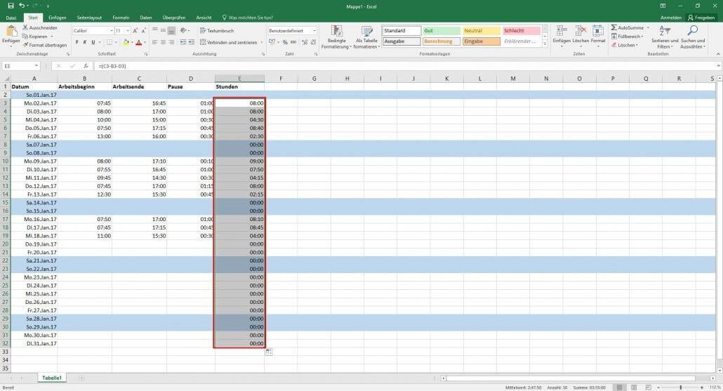 Arbeitszeiterfassung in Excel: Übersichtliche Arbeitszeittabellen ...