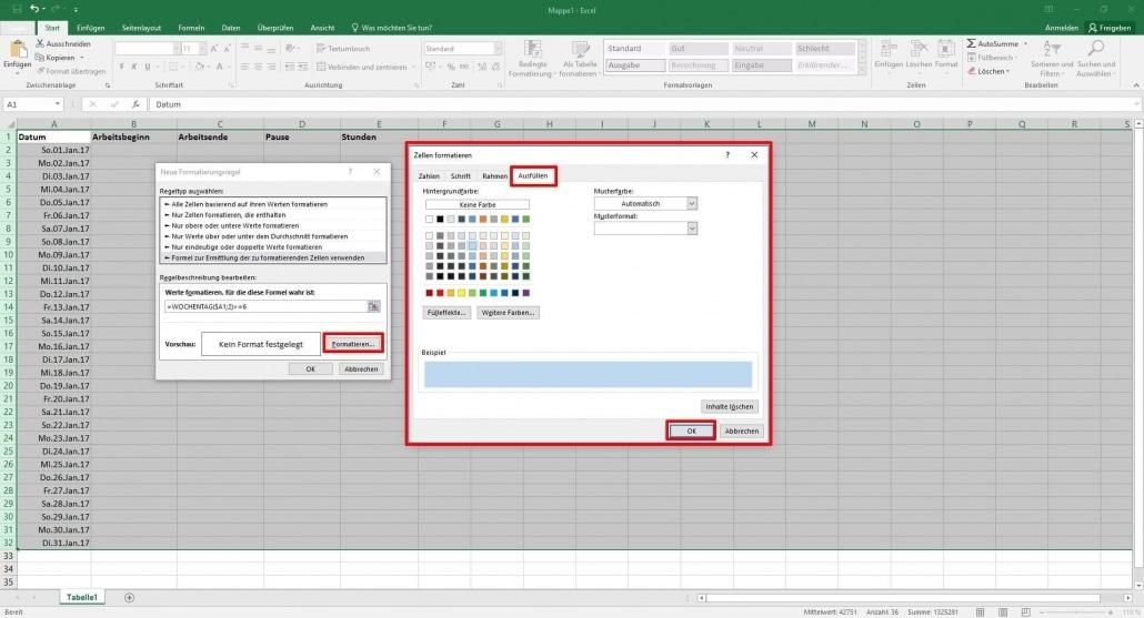 Arbeitszeiterfassung In Excel übersichtliche Arbeitszeittabellen