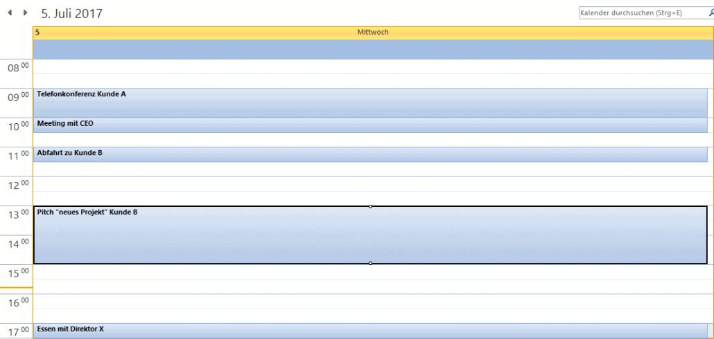 Outlook-Kalender Detailansicht