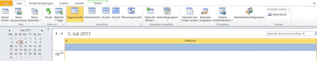 Outlook-Kalender Tag auswählen