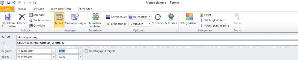 Outlook-Kalender neuen Termin erstellen