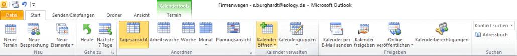 Outlook-Kalender öffnen