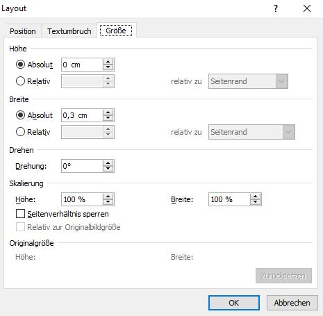 Word Liniengröße einstellen