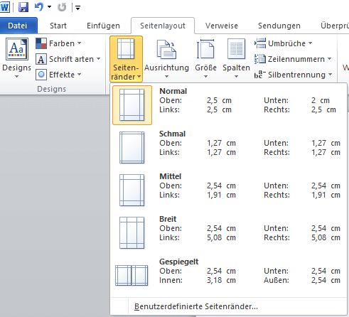Word Seitenlayout Seitenränder