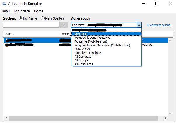 Outlook Kontakt anzeigen