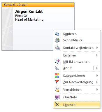 Outlook Kontakt löschen