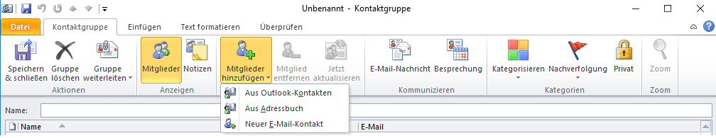 Outlook Kontaktgruppe anlegen