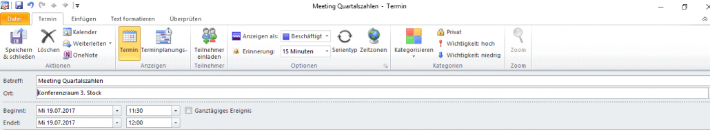 Outlook neuer Termin