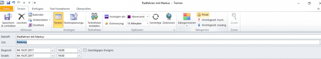 Outlook private Termine