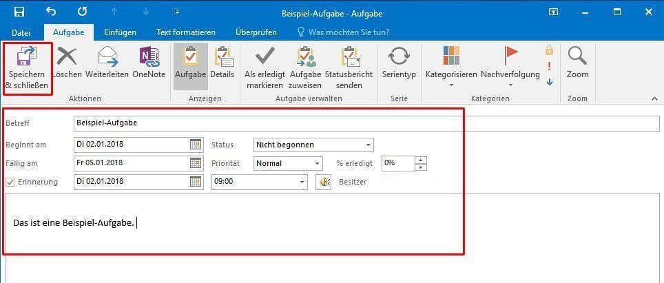 Outlook - Aufgabe erstellen