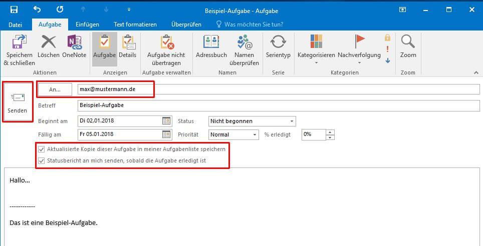 Outlook - Aufgabe senden