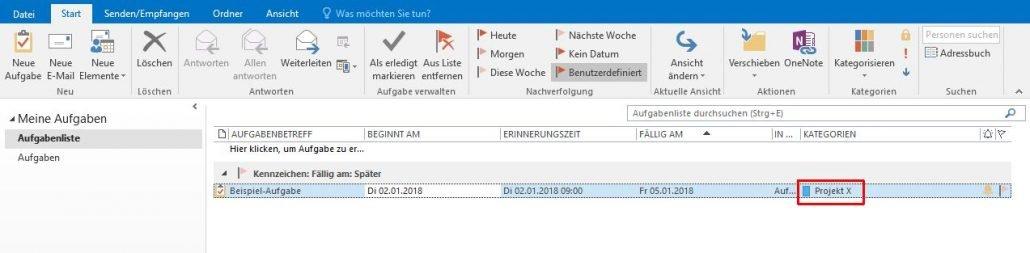 Outlook - Aufgabenliste