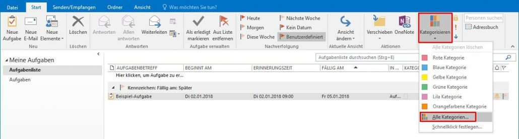 Outlook - Farbkategorien