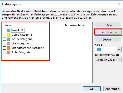 Outlook - Farbkategorien umbenennen
