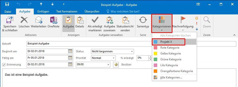 Outlook - Kategorie auswählen