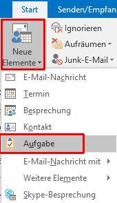 Outlook - Neue Aufgabe