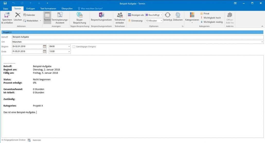 Outlook - Termin erstellen
