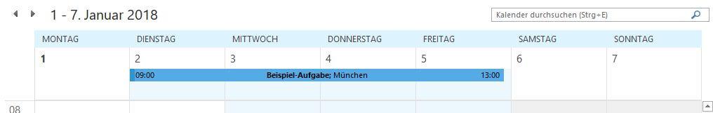 Outlook - Termin im Kalender