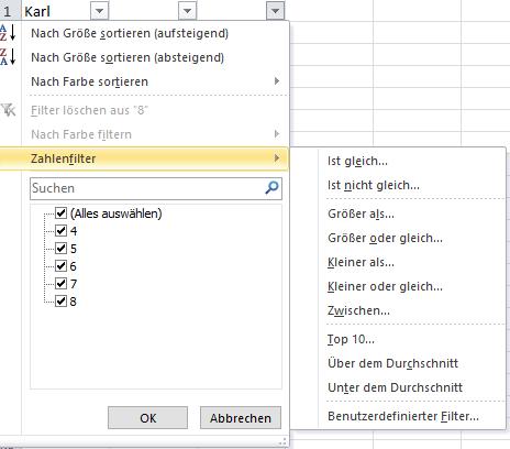 Option Zahlenfilter