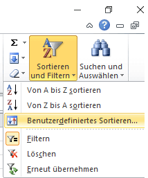 Benutzerdefiniertes Sortieren in Excel