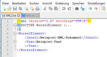 XML Quellcode Doctype