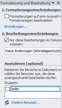 Microsoft Word - Ausnahmen beim Schreibschutz hinzufügen