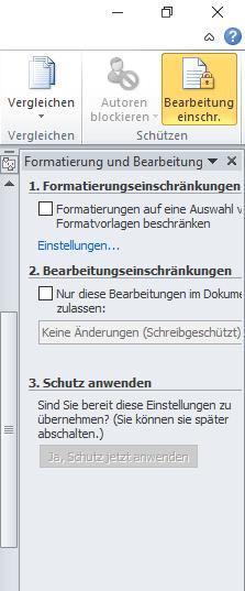 Microsoft Word - Bearbeitung einschränken