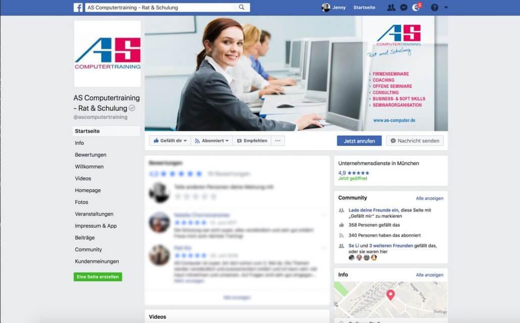 Facebook Unternehmensseite AS Computertraining