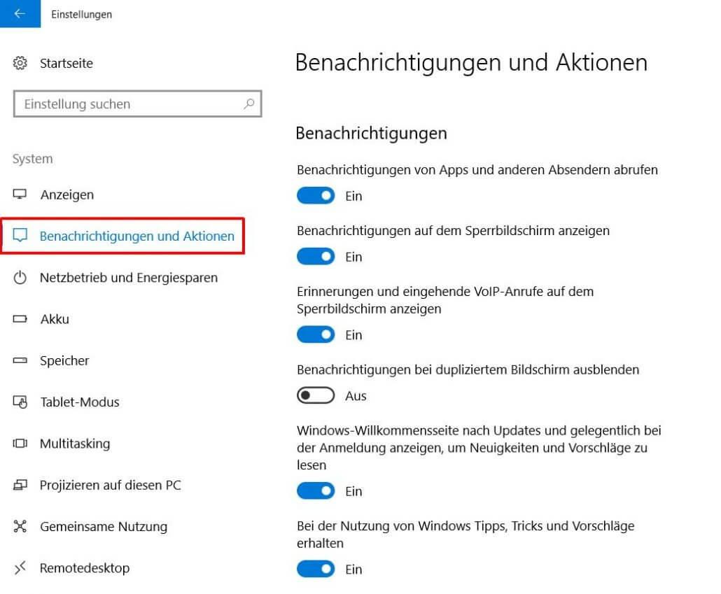 Windows 10 Benachrichtungen und Aktionen