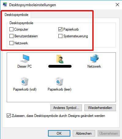 Windows 10 Desktopsymboleinstellungen