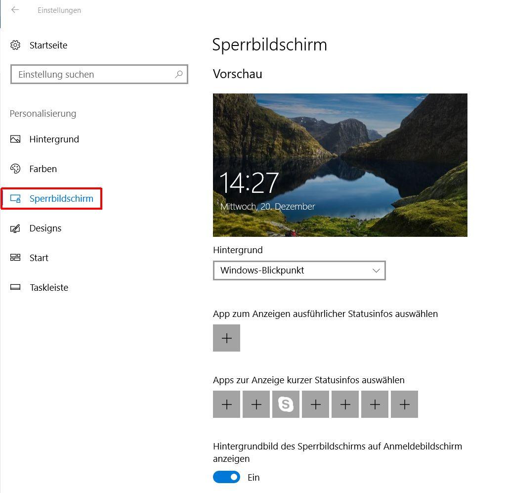 Windows 10 Einstellungen - Sperrbildschirm