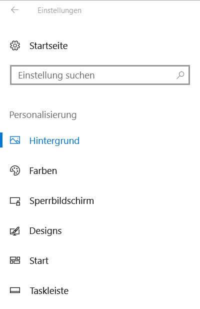 Windows 10 Personalisierung - Hintergrund