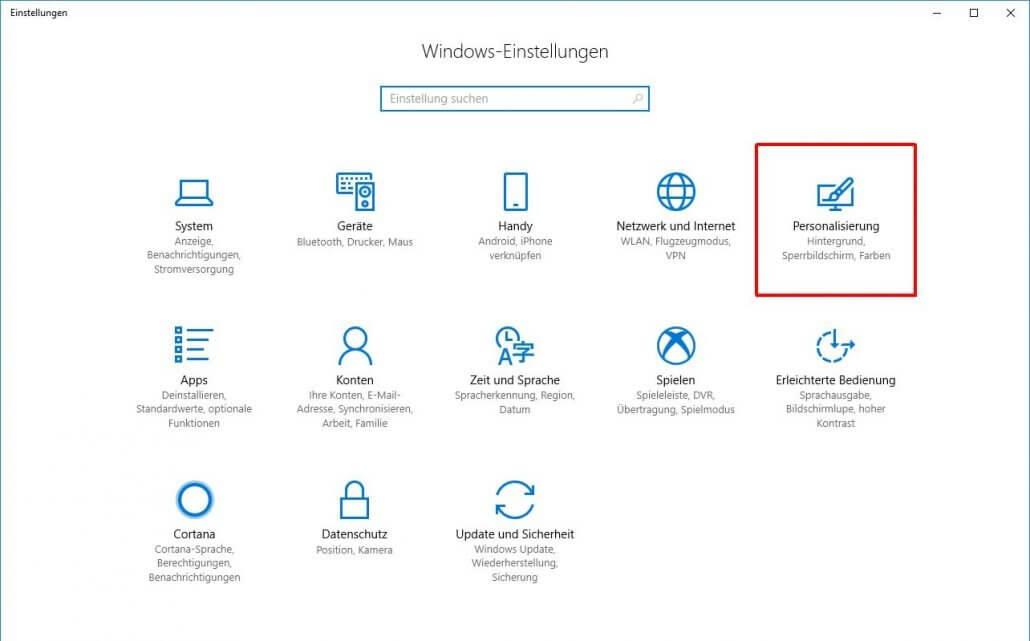 Windows 10 Personalisierungseinstellungen