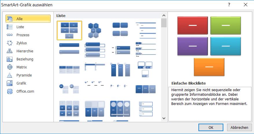 SmartArt-Grafik in PowerPoint auswählen