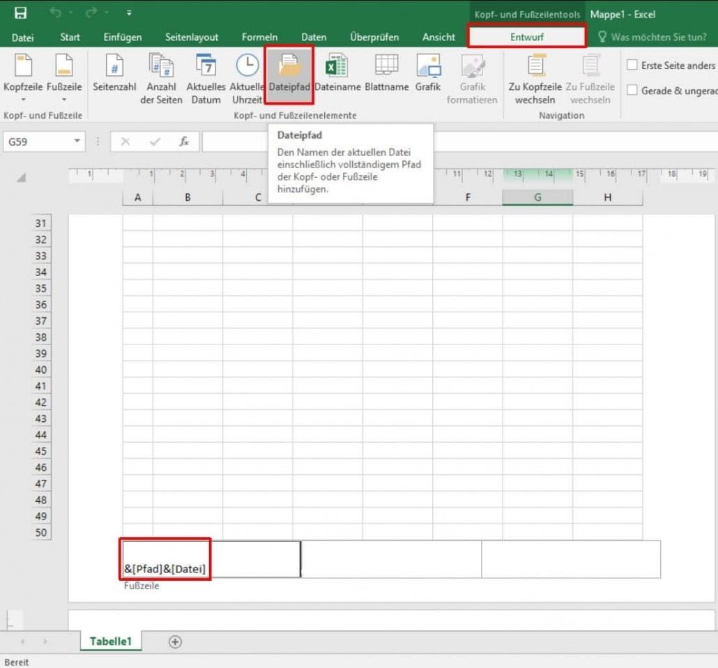 Excel - Fußzeile Dateipfad einfügen
