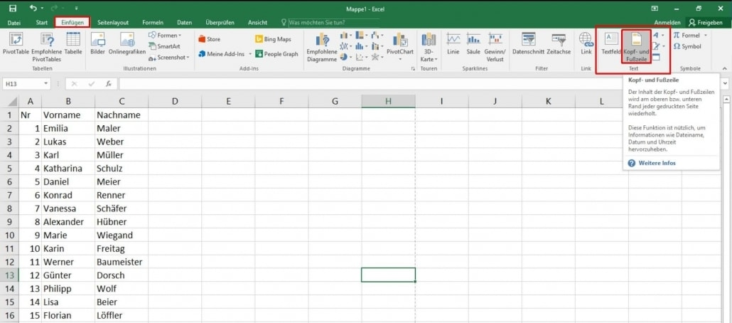 Excel - Kopf und Fußzeile einfügen