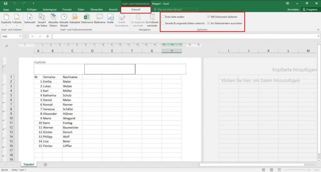 Excel - Kopf und Fußzeile variabel