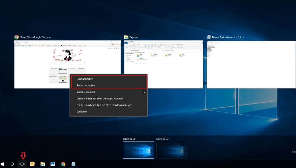 Windows 10 - Fenster andocken mit Maus