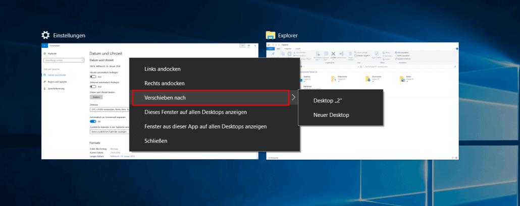 Windows 10 - Fenster verschieben nach