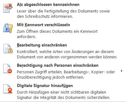 Word - Optionen Schreibschutz