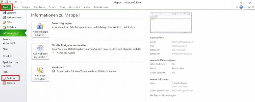 Excel - Datei Optionen
