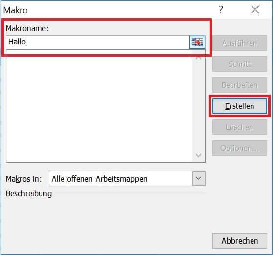 Excel - Makro benennen