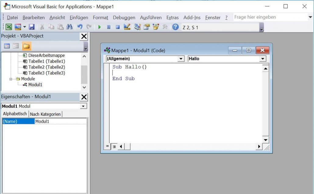 Excel - Makro im Visual Basic Editor