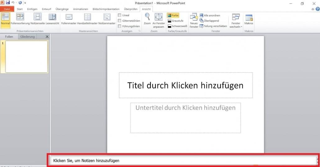PowerPoint - Notizen hinzufügen