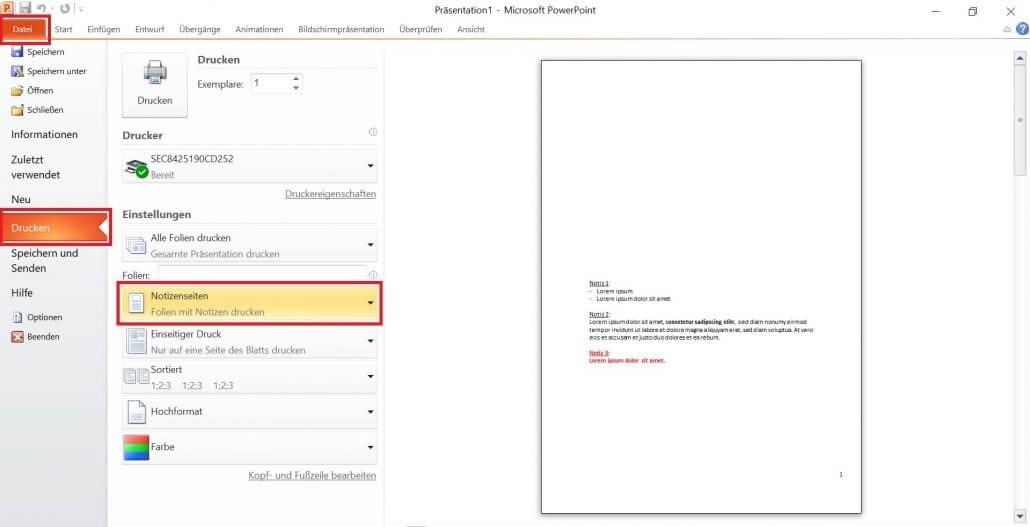 PowerPoint - Notizen ohne Miniaturansicht drucken