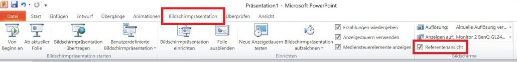 PowerPoint - Referentenansicht einstellen