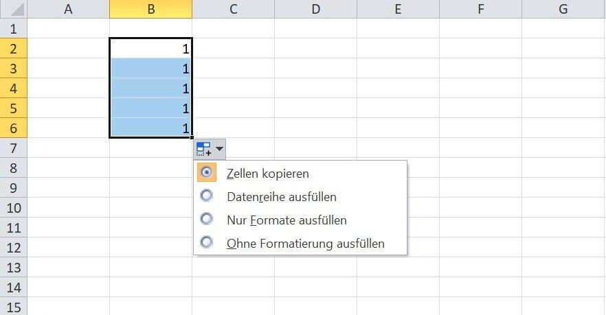 Excel - Auto-Ausfülloptionen