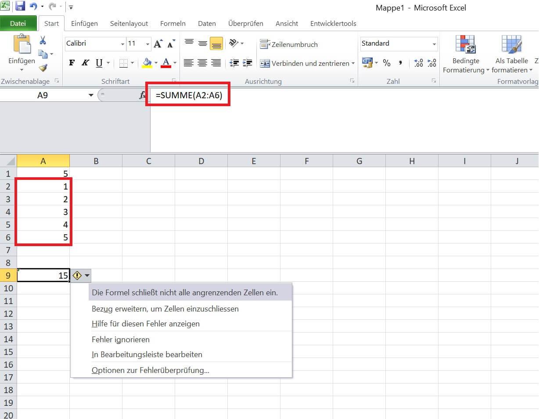 Excel - Fehler Formel beheben - Summe